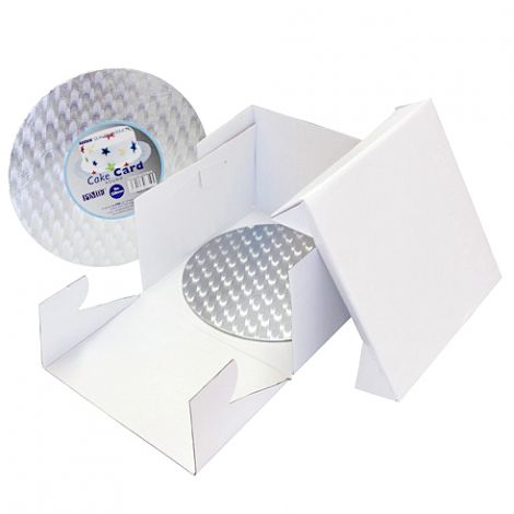 10in White Round Cake Card & Cake Box