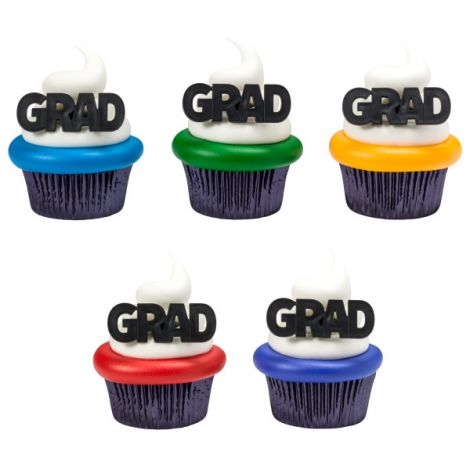 Bold Graduation Cupcake Rings, 12 ct.