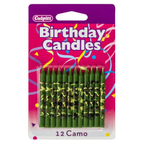 Camo Print Traditional Birthday Candles