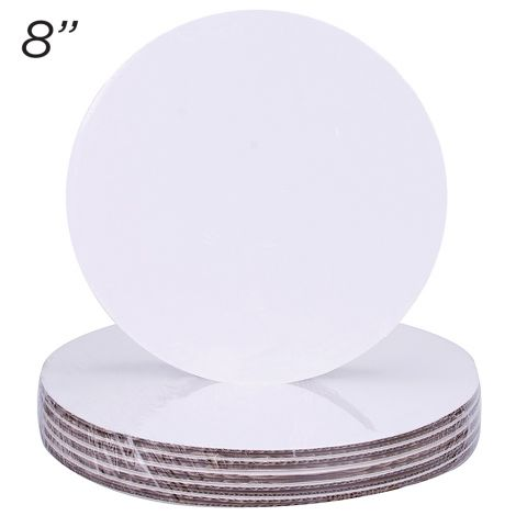 "8"" Round Coated Cakeboard, 12 ct"