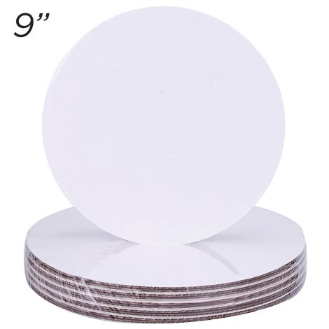 """9"""" Round Coated Cakeboard, 6 ct"""