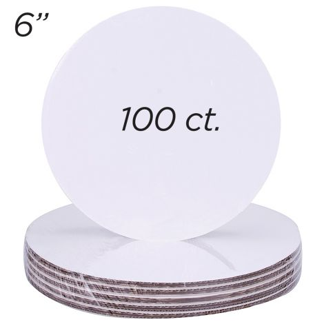 "6"" Round Coated Cakeboard, 100 ct"