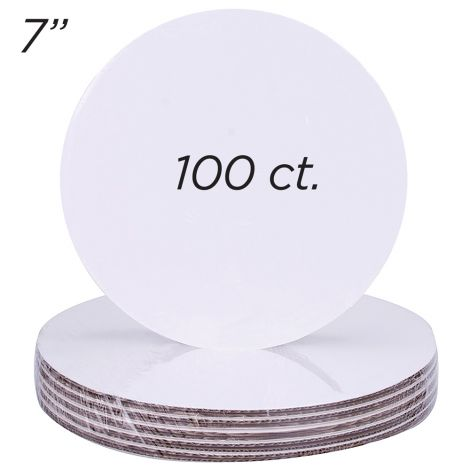 "7"" Round Coated Cakeboard, 100 ct"