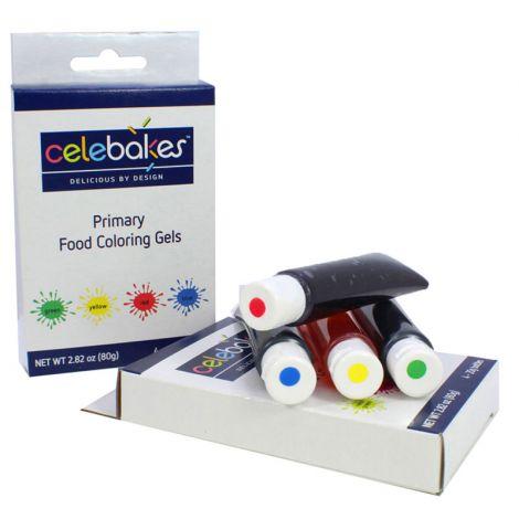 Celebakes Primary Food Coloring Gels, 4 - 20g Tubes