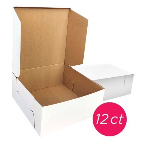 12x12x6 White/Brown Kraft Cake Box, 12 ct.