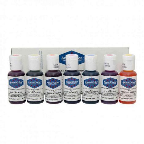 Americolor .75 oz Soft Gel Paste 7 Color Electric Kit