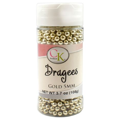 Gold 5mm Dragee, 3.7 oz