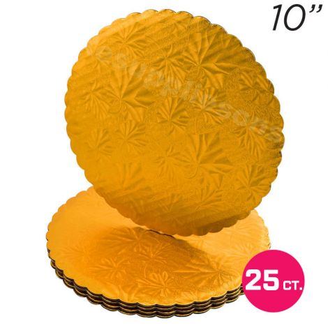 "10"" Gold Scalloped Edge Cake Boards, 25 ct"
