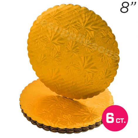 "8"" Gold Scalloped Edge Cake Boards, 6 ct"
