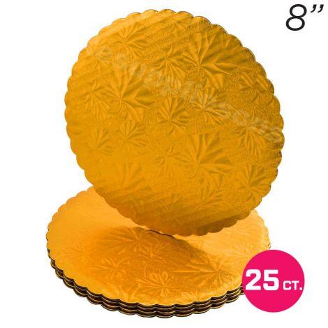 "8"" Gold Scalloped Edge Cake Boards, 25 ct"