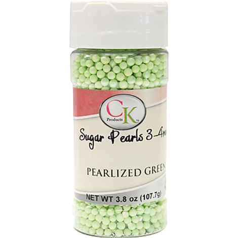 Green Pearlized 3-4mm Sugar Pearls 3.6 OZ