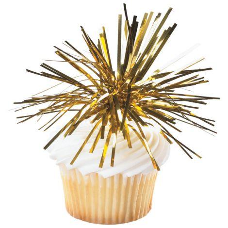 Gold Spray Mylar, Cupcake Pics, 6 ct
