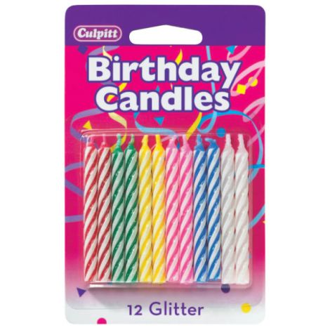 Primary Spiral Glitter Birthday Candles
