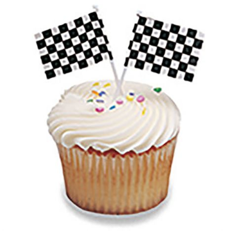 Checkered Flag, Cupcake Pics, 12 ct.