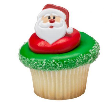 Santa Face Cupcake Rings, 12 ct.