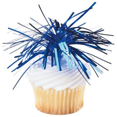 Blue Spray Mylar, Cupcake Pics, 6 ct