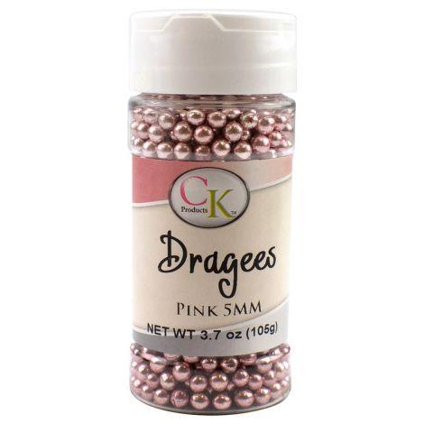 Pink 5mm Dragee, 3.7 oz