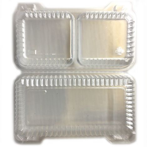 Shallow 2 Cell Hinge Container, 6 ct