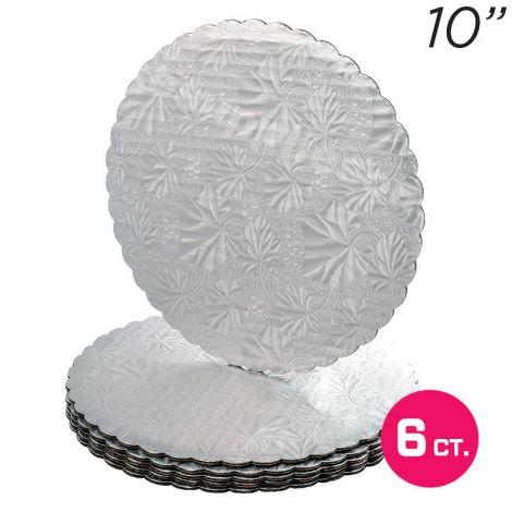 """10"""" Silver Scalloped Edge Cake Boards, 6 ct"""