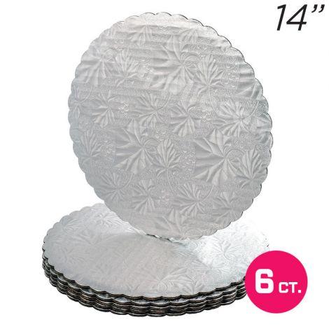"""14"""" Silver Scalloped Edge Cake Boards, 6 ct"""