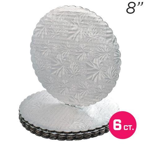 """8"""" Silver Scalloped Edge Cake Boards, 6 ct"""