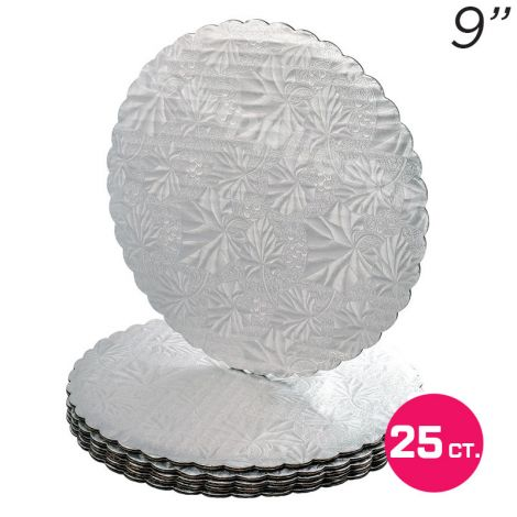"""9"""" Silver Scalloped Edge Cake Boards, 25 ct"""