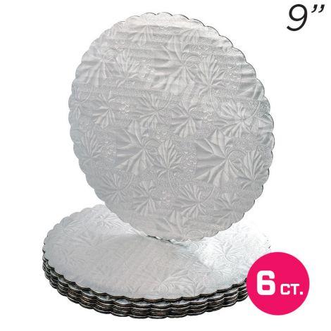 """9"""" Silver Scalloped Edge Cake Boards, 6 ct"""