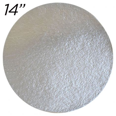 """14"""" Silver Round Cakeboard, 25 ct. - 2 mm thick"""