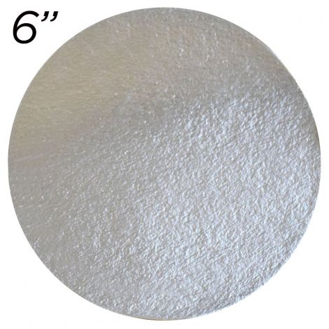 """6"""" Silver Round Cakeboard, 25 ct. - 2 mm thick"""