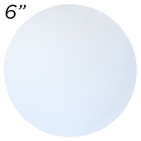 """6"""" White Round Cakeboard, 6 ct. - 2 mm thick"""