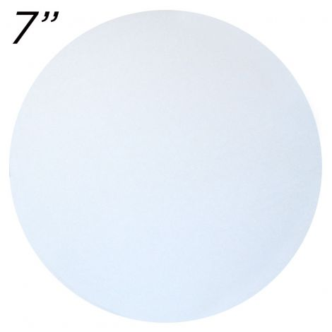 """7"""" White Round Cakeboard, 25 ct. - 2 mm thick"""