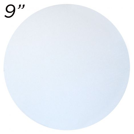 """9"""" White Round Cakeboard, 12 ct. - 2 mm thick"""