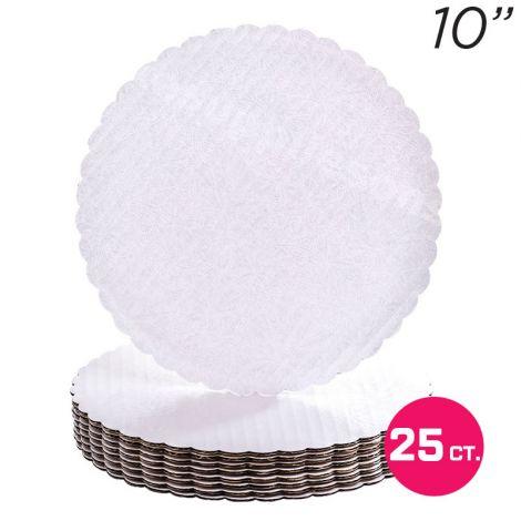 """10"""" White Scalloped Edge Cake Boards, 25 ct"""