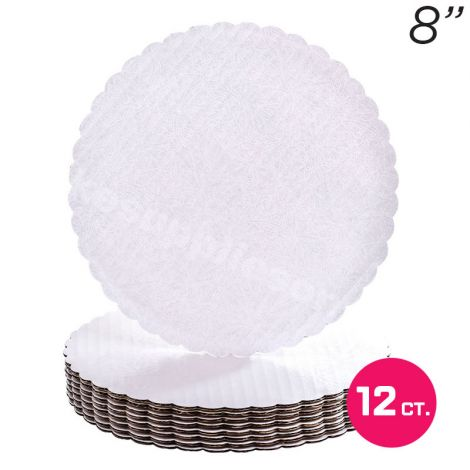 """8"""" White Scalloped Edge Cake Boards, 12 ct"""