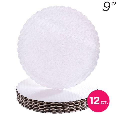 """9"""" White Scalloped Edge Cake Boards, 12 ct"""