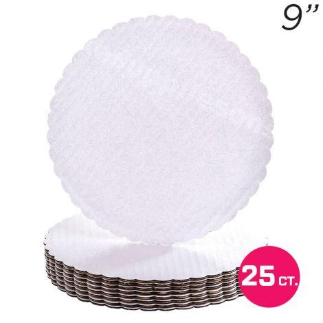 """9"""" White Scalloped Edge Cake Boards, 25 ct"""