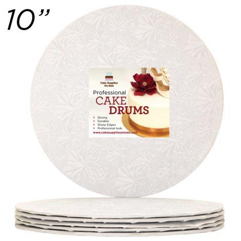 "10"" White Round Thin Drum 1/4"", 25 count"
