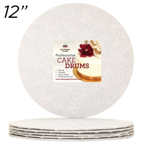 "12"" White Round Thin Drum 1/4"", 25 count"
