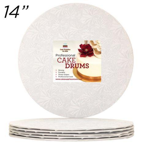 "14"" White Round Thin Drum 1/4"", 6 count"