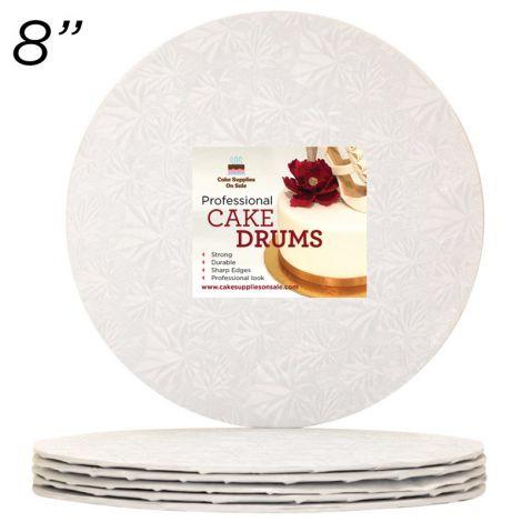 "8"" White Round Thin Drum 1/4"", 6 count"