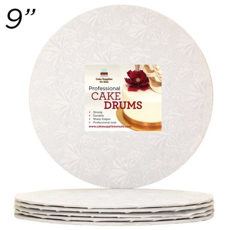 "9"" White Round Thin Drum 1/4"", 25 count"