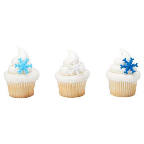 Blue Snowflake Cupcake Rings, 12 ct.
