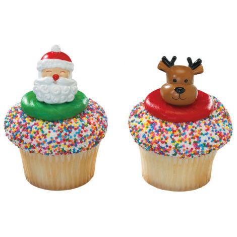 Jolly Santa & Reindeer Cupcake Rings, 12 ct.