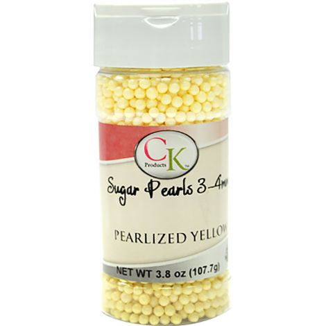 Yellow 3-4mm Sugar Pearls 3.6 OZ