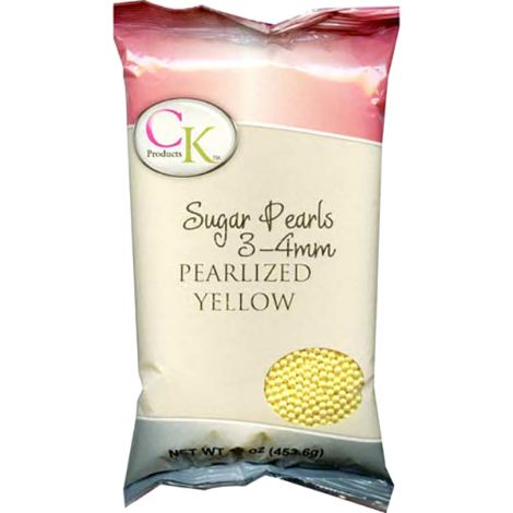 Sugar Pearls 3-4mm - Yellow, 16 oz