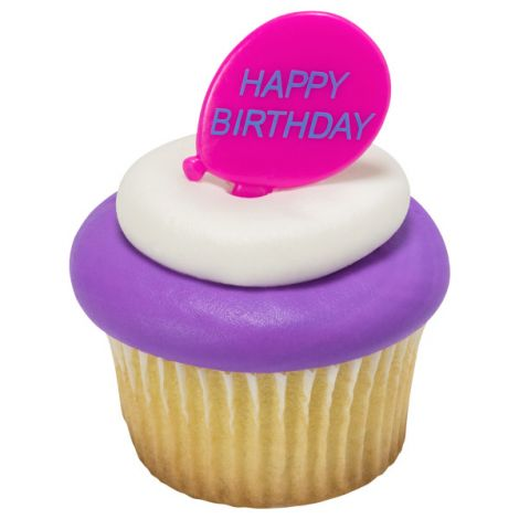 Happy Birthday Balloons, Cupcake Pics,12 ct.