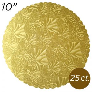 "10"" Gold Scalloped Edge Cake Boards, 25 ct"