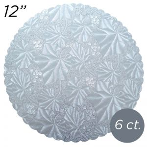 "12"" Silver Scalloped Edge Cake Boards, 6 ct"