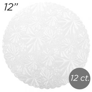 "12"" White Scalloped Edge Cake Boards, 12 ct"