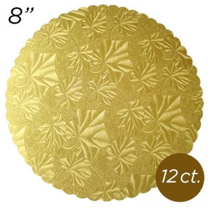 "8"" Gold Scalloped Edge Cake Boards, 12 ct"